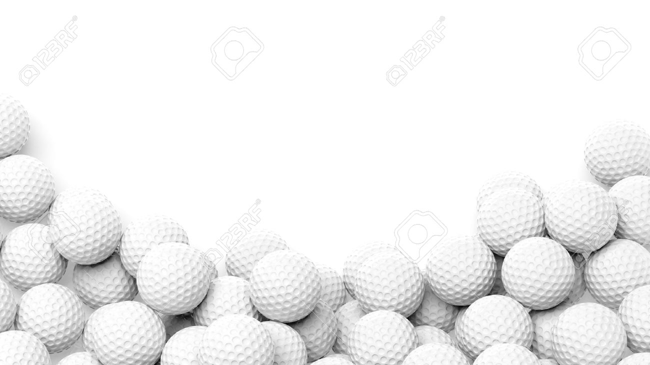 Golf balls pile with copy-space isolated on white background Stock Photo - 37924325