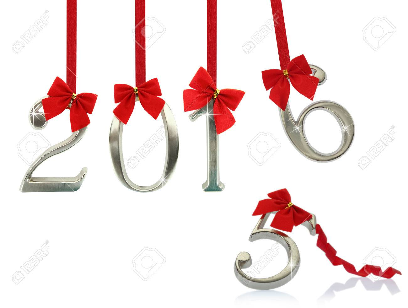 New year 2016 hanging on red ribbons Stock Photo - 38694535