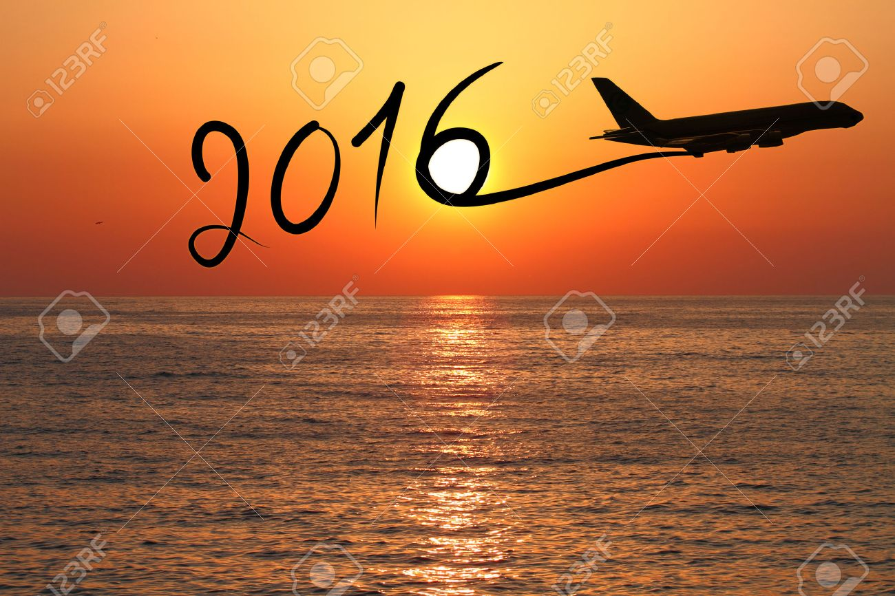 New year 2016 drawing by airplane on the air at sunset Stock Photo - 38694016