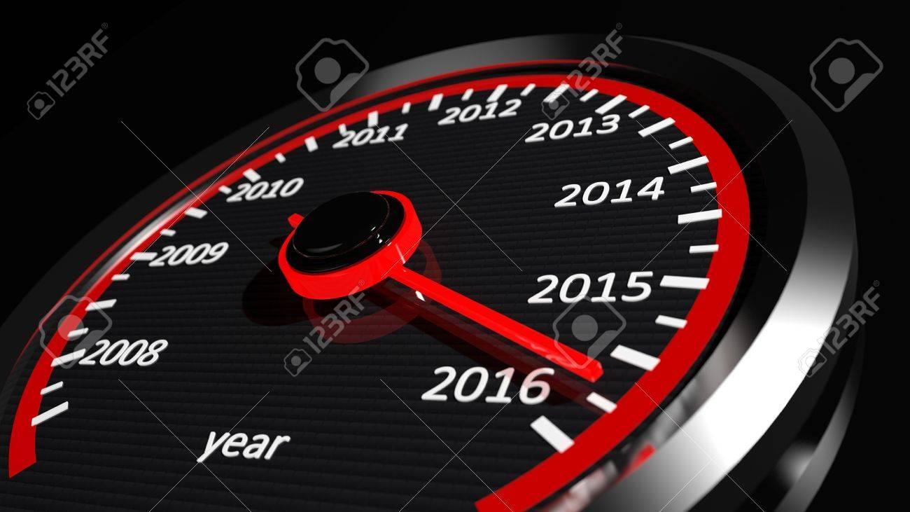 Conceptual 2016 year speedometer Stock Photo - 38694021