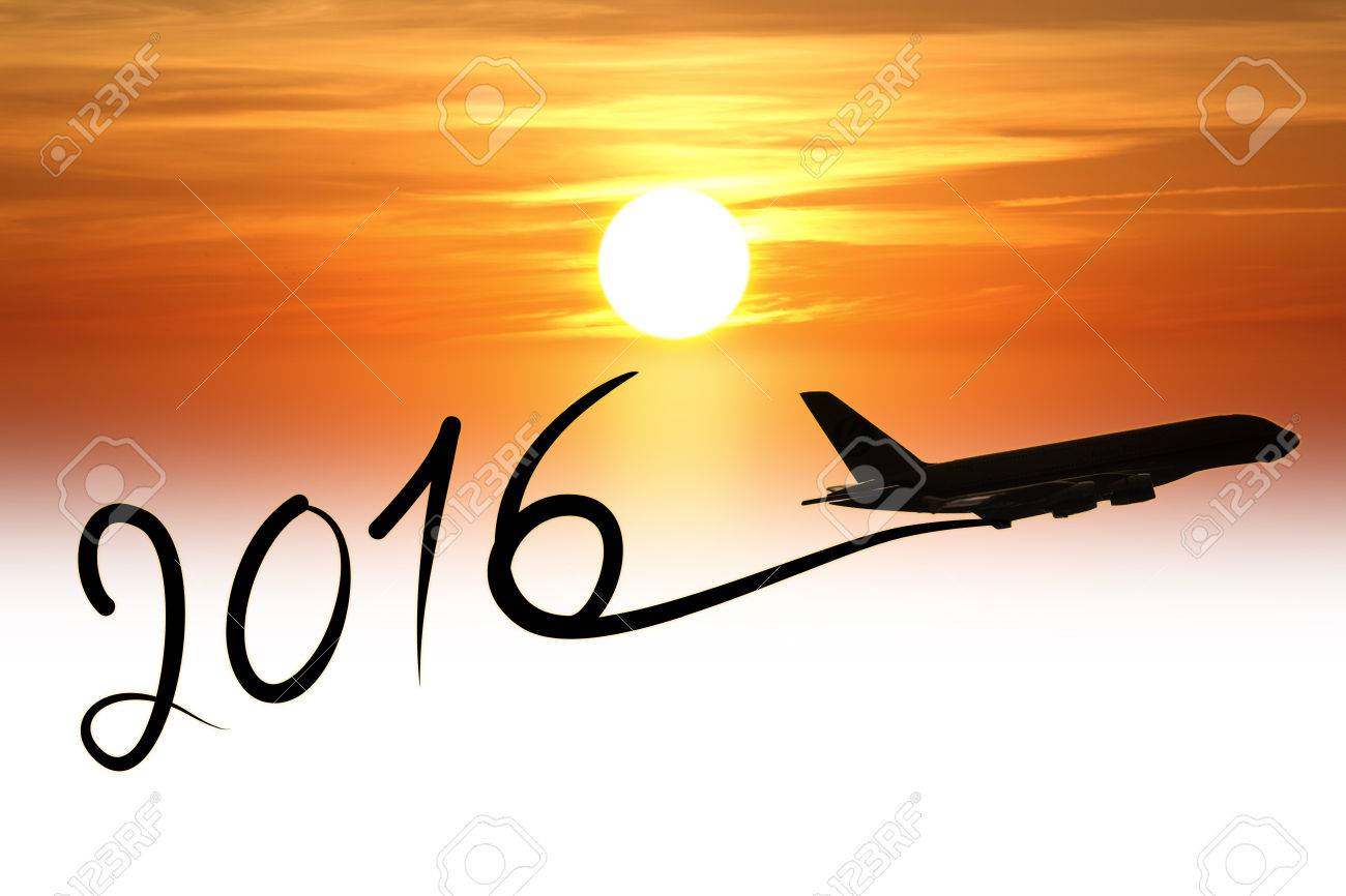 New year 2016 drawing by airplane on the air at sunset Stock Photo - 38694026