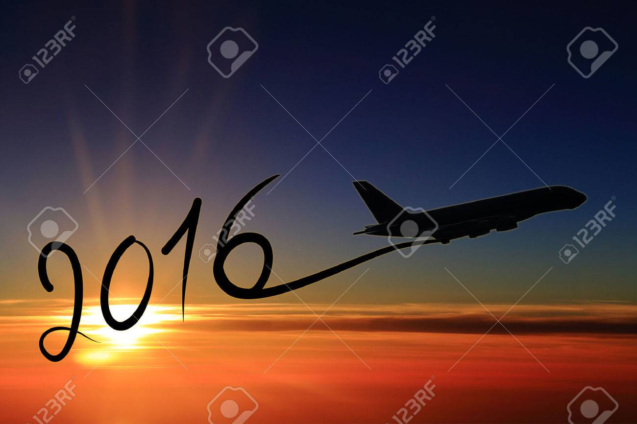 New year 2016 drawing by airplane on the air at sunset Stock Photo - 38693927