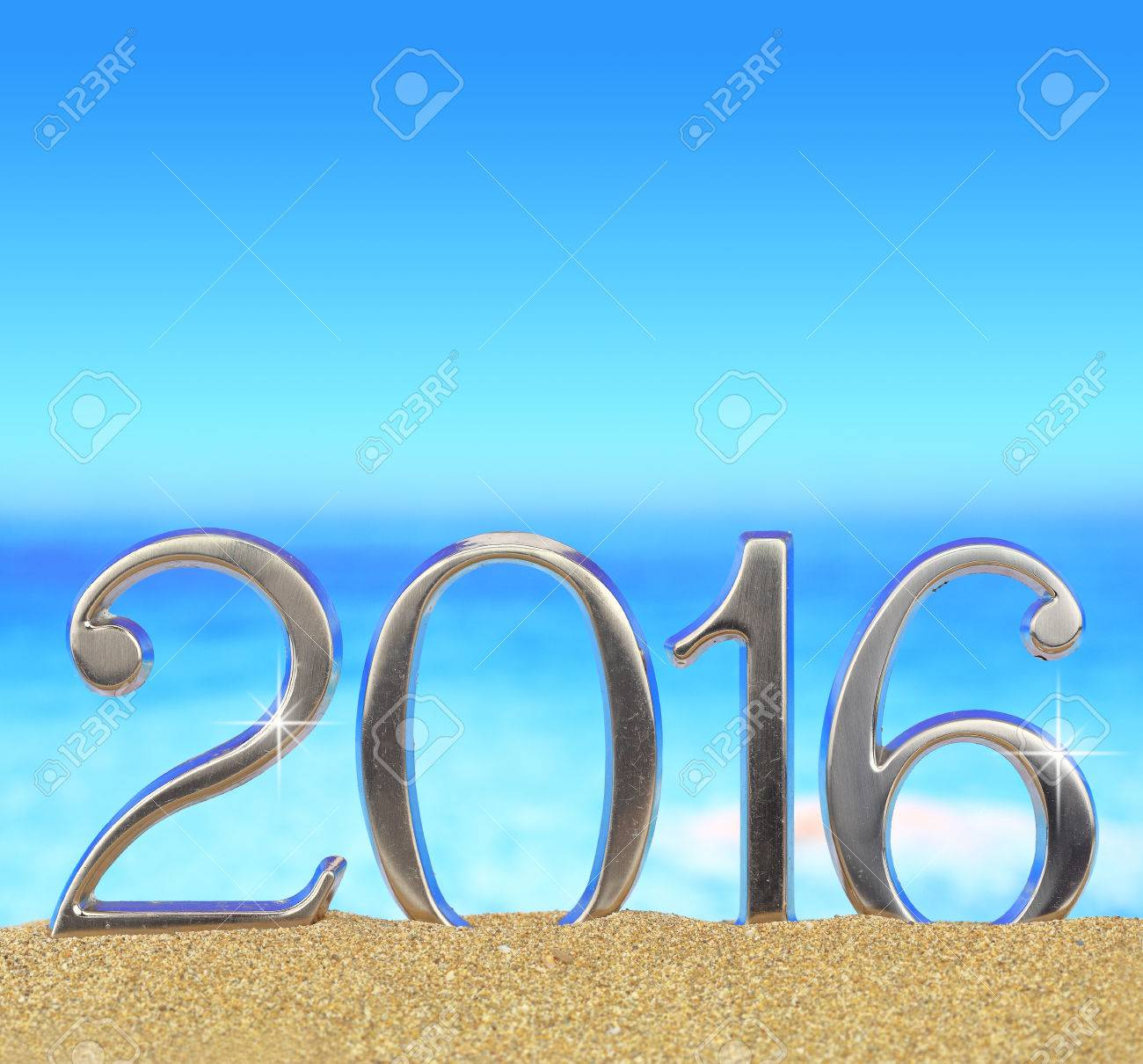 New year number 2016 on the beach Stock Photo - 39561735