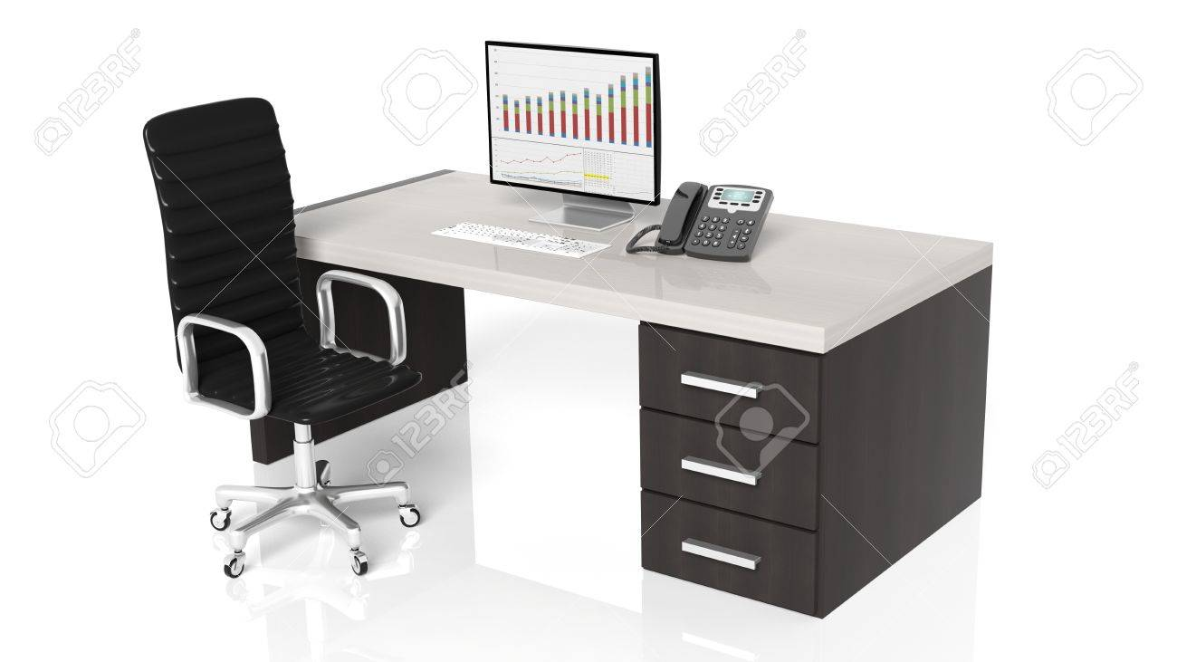 Bureau professionnel avec un équipement et une chaise noir sur