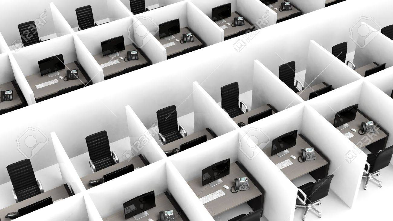 Interior of a modern office cubicles Stock Photo - 39694325