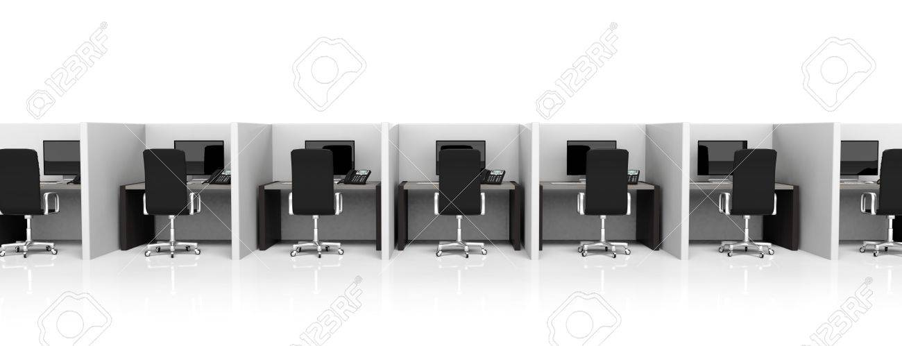 Office cubicles with equipment and black chairs on white background Stock Photo - 39694326