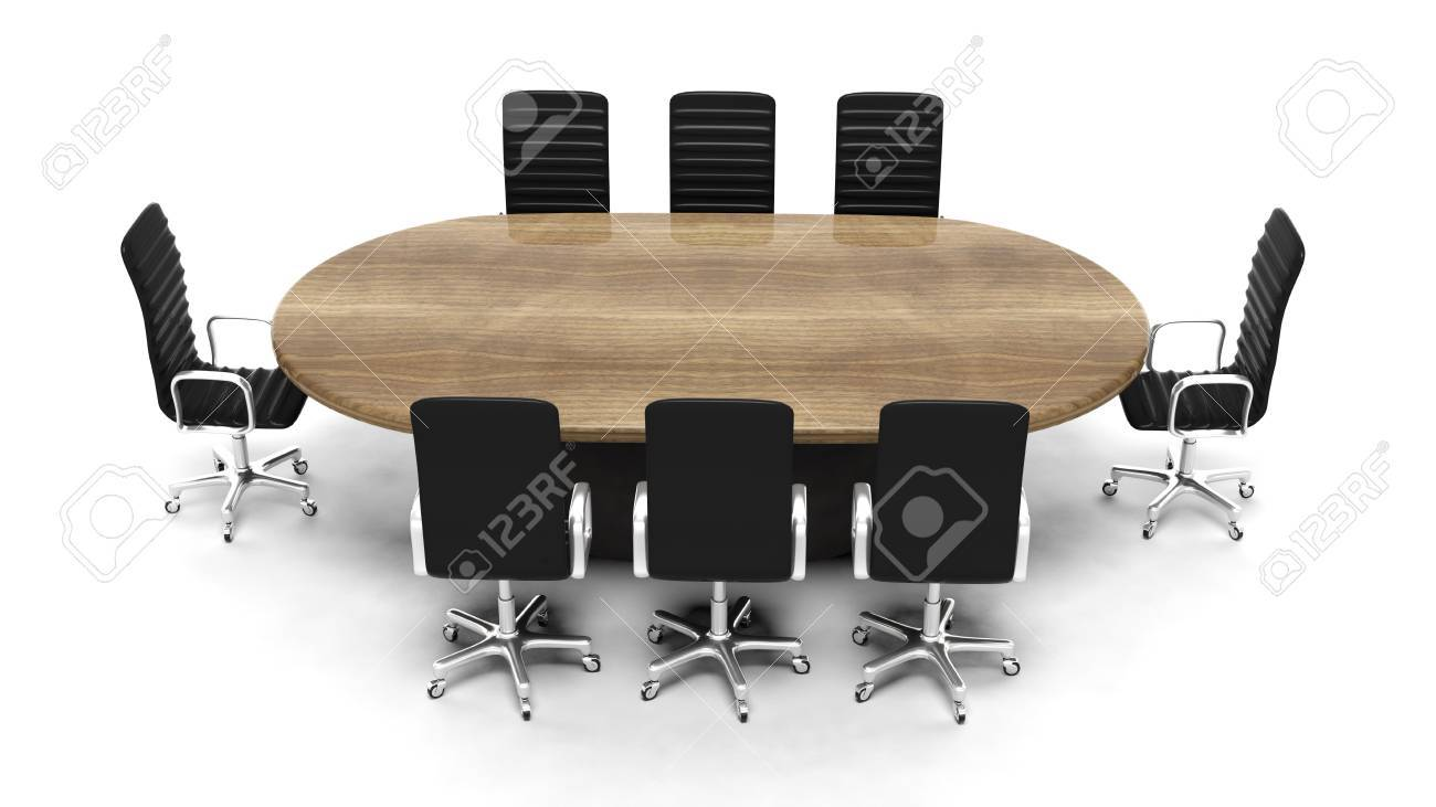 Oval Wooden Meeting Room Table With Leather Chairs Isolated On - Oval conference room table