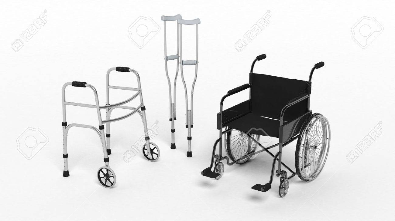 Black disability wheelchair, crutch and metallic walker isolated on white Stock Photo - 40903634