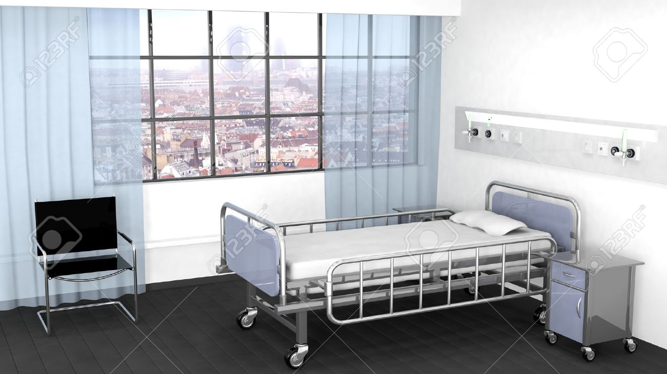 Bed, bedside table and chair in hospital room with window Stock Photo - 40903815