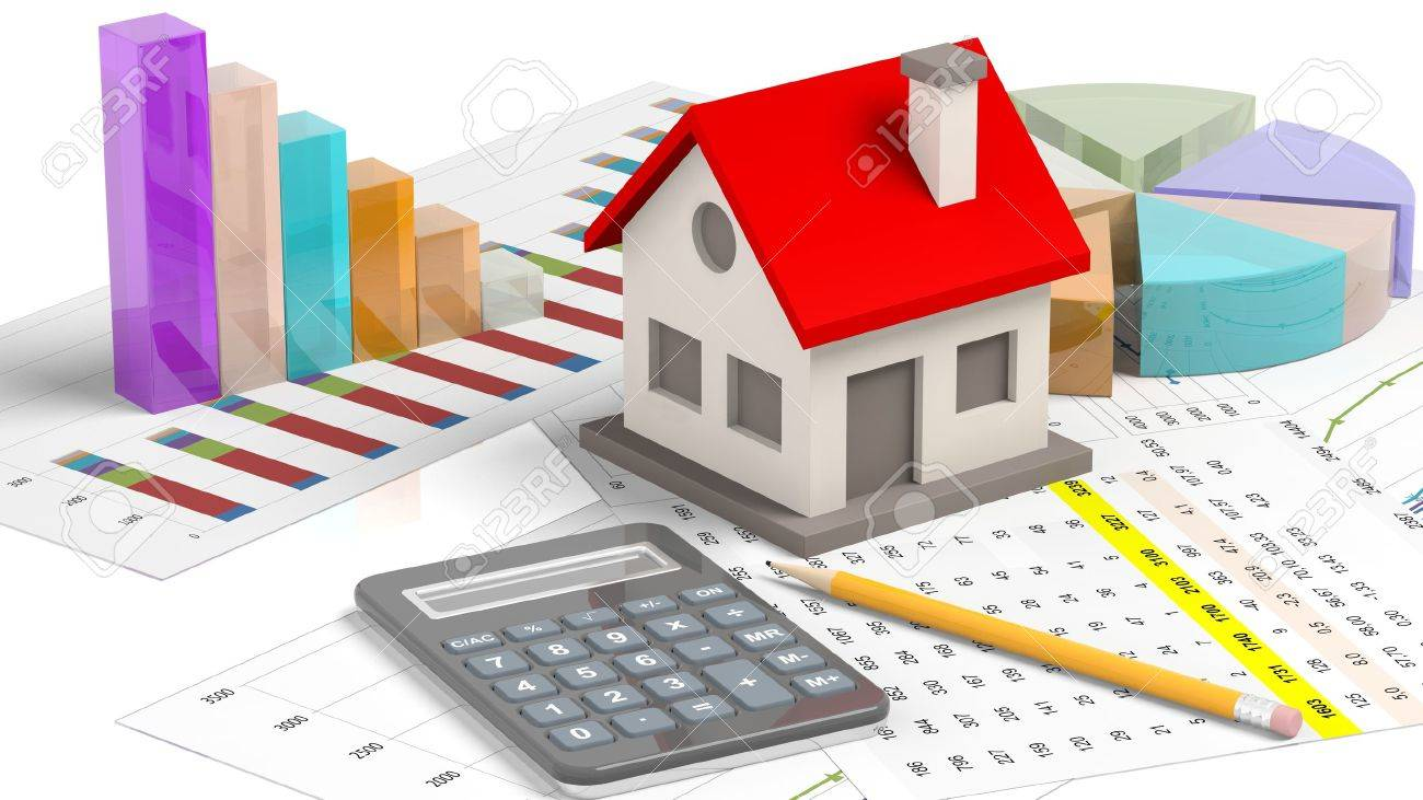 House model with chat bars and calculator isolated on white Stock Photo - 41045921