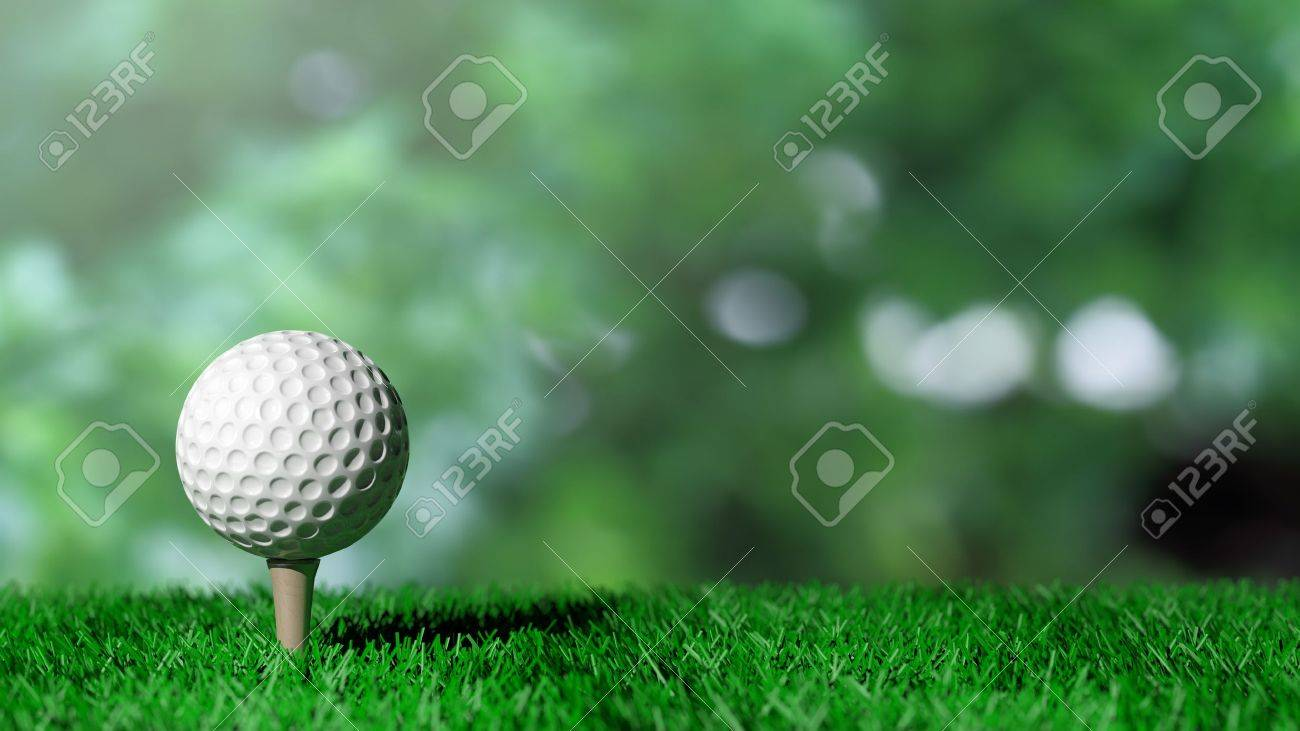 Golf ball on green turf and green background Stock Photo - 41045937