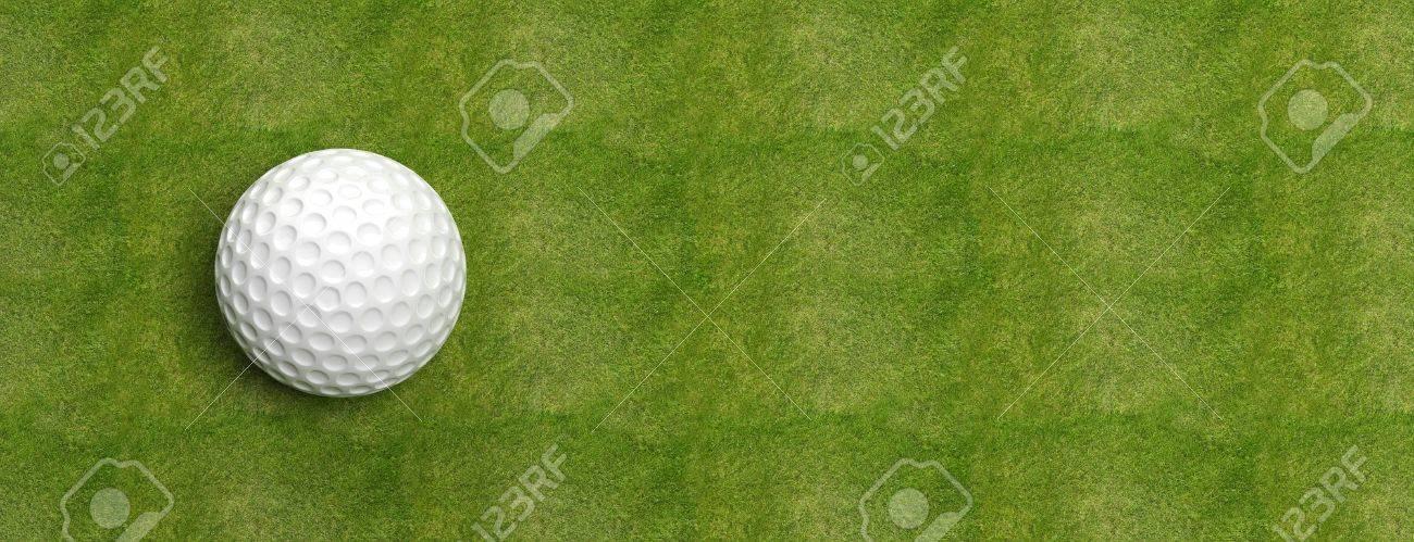 Golf ball on green turf banner Stock Photo - 41045954