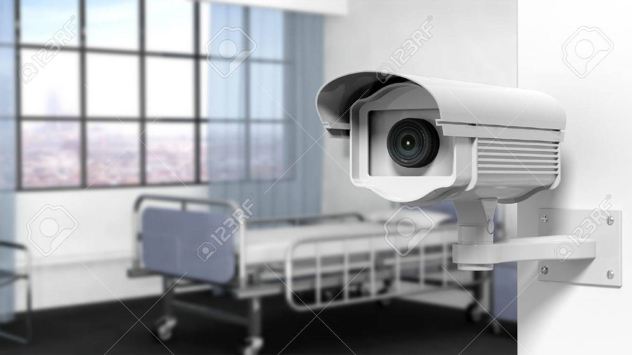 Security surveillance camera on wall in a hospital room Stock Photo - 41045984