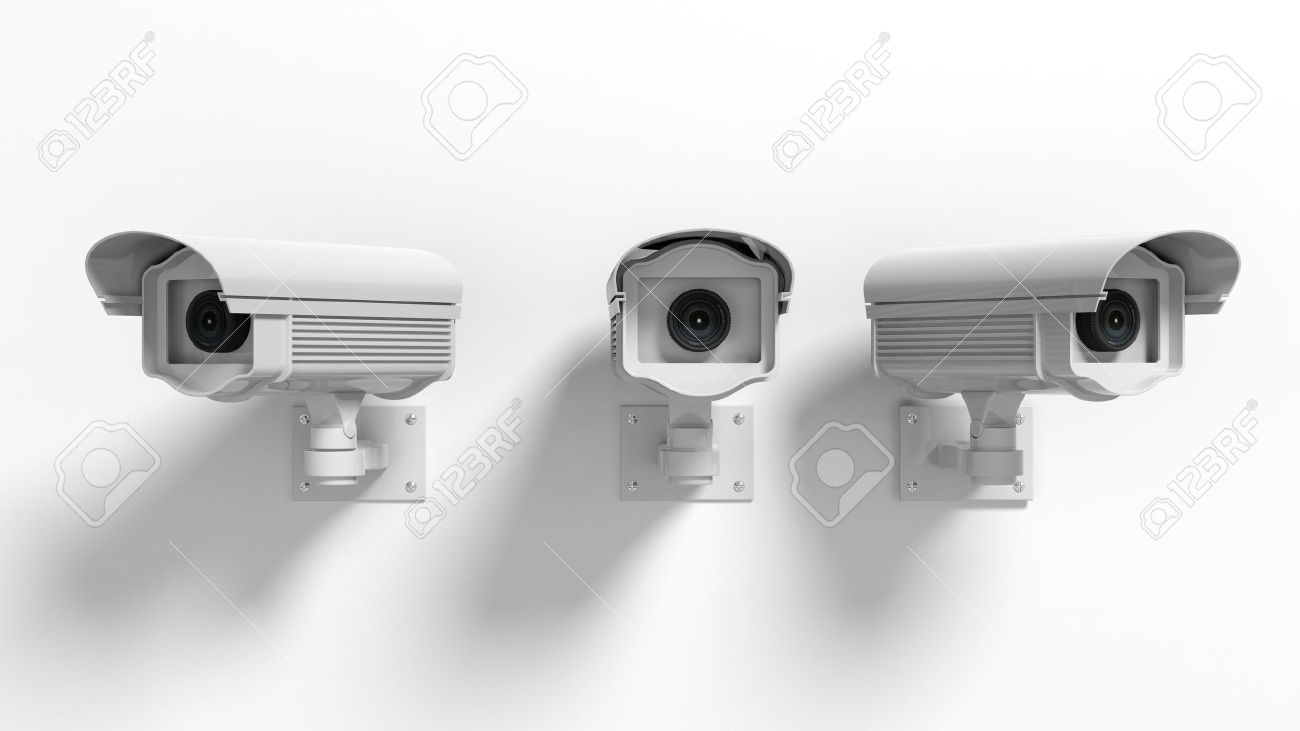 Three security surveillance cameras isolated on white background Stock Photo - 41045986