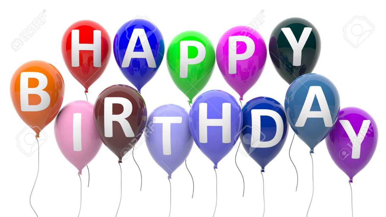 Bunte Luftballons Mit Happy Birthday Text Auf Weissem Hintergrund Isoliert Standard Bild