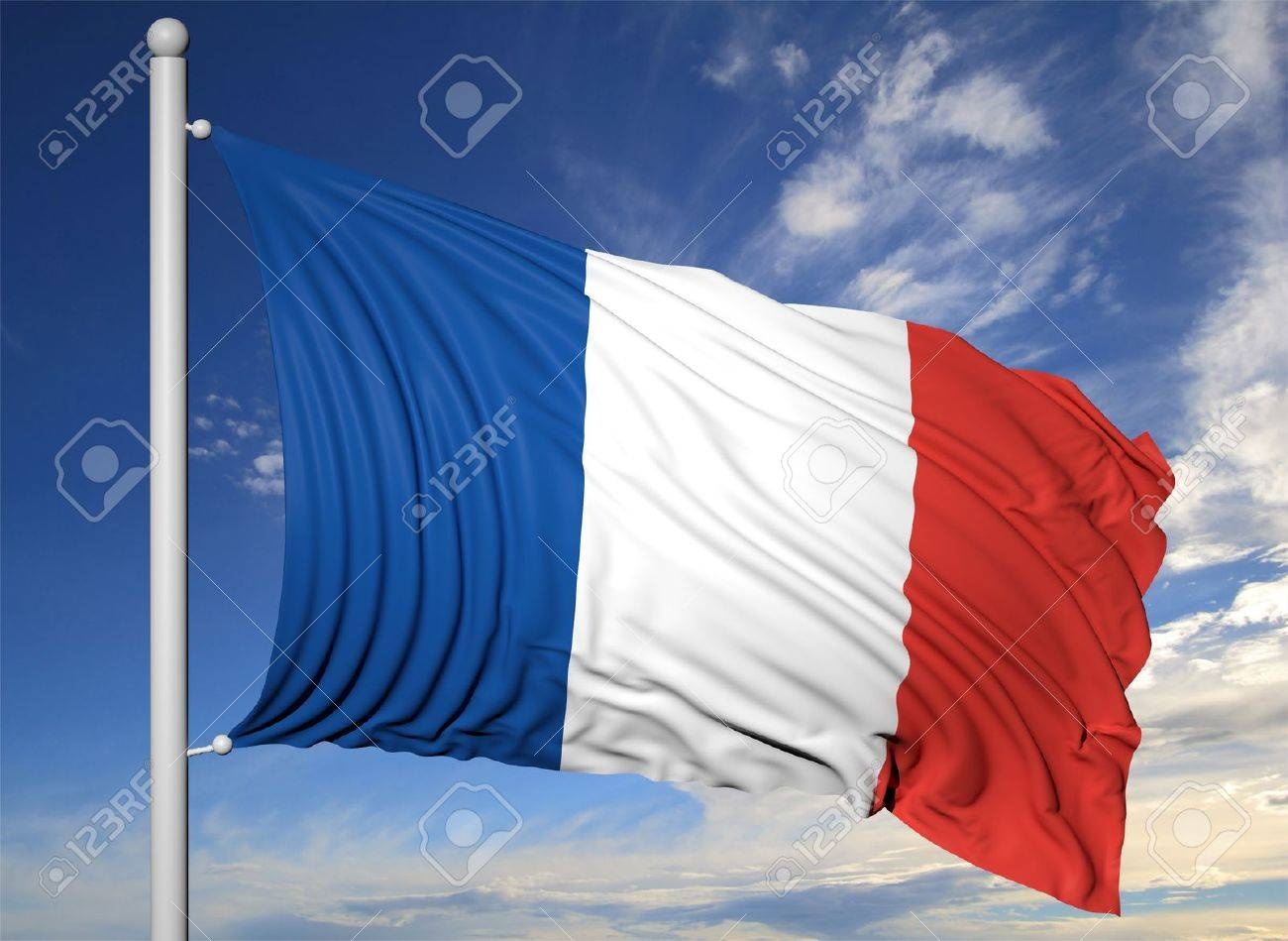 Waving flag of France on flagpole, on blue sky background. - 44876295
