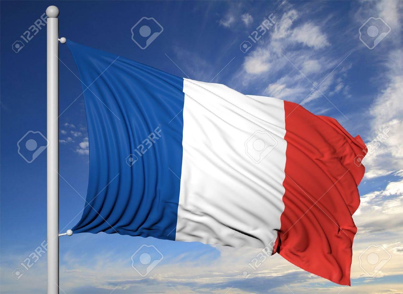 Waving flag of France on flagpole, on blue sky background. Stock Photo - 44876295