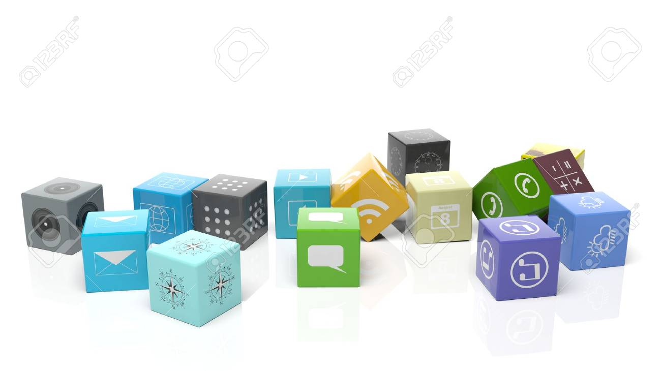 Various apps in shape of a cube, isolated on white background. - 46786542