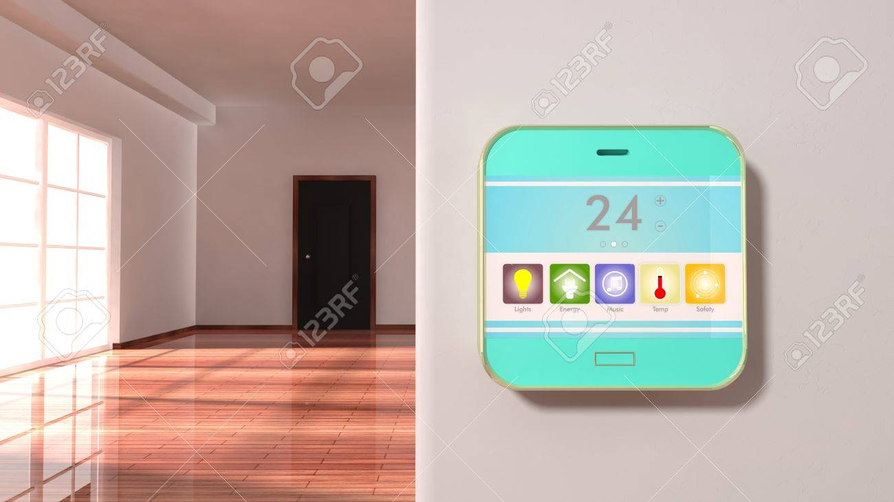 Interior of an apartment with smart home control device display on a wall - 46786549