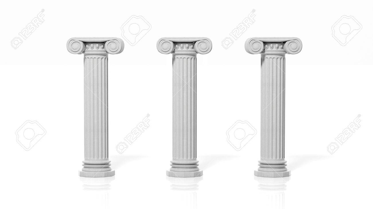 Three ancient pillars, isolated on white background. Stock Photo - 50948231