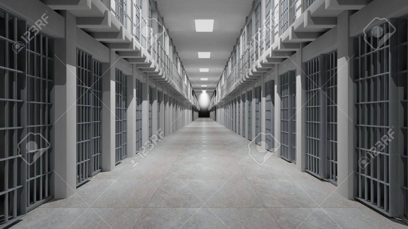 Rows of prison cells, prison interior. Stock Photo - 50948312
