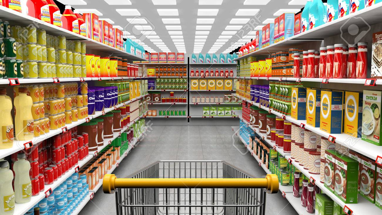 Supermarket  >> Supermarket Interior With Shelves Full Of Various Products And