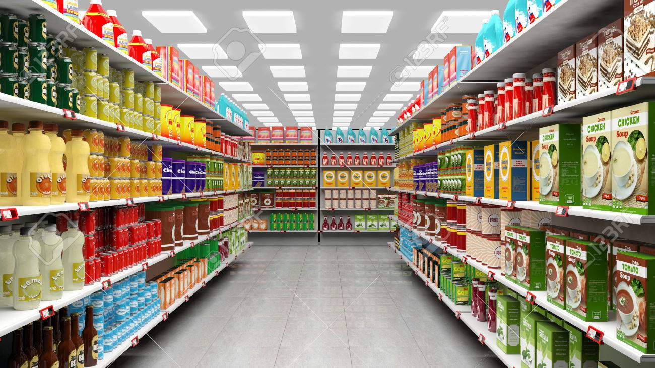 Supermarket interior with shelves full of various products. - 50948331