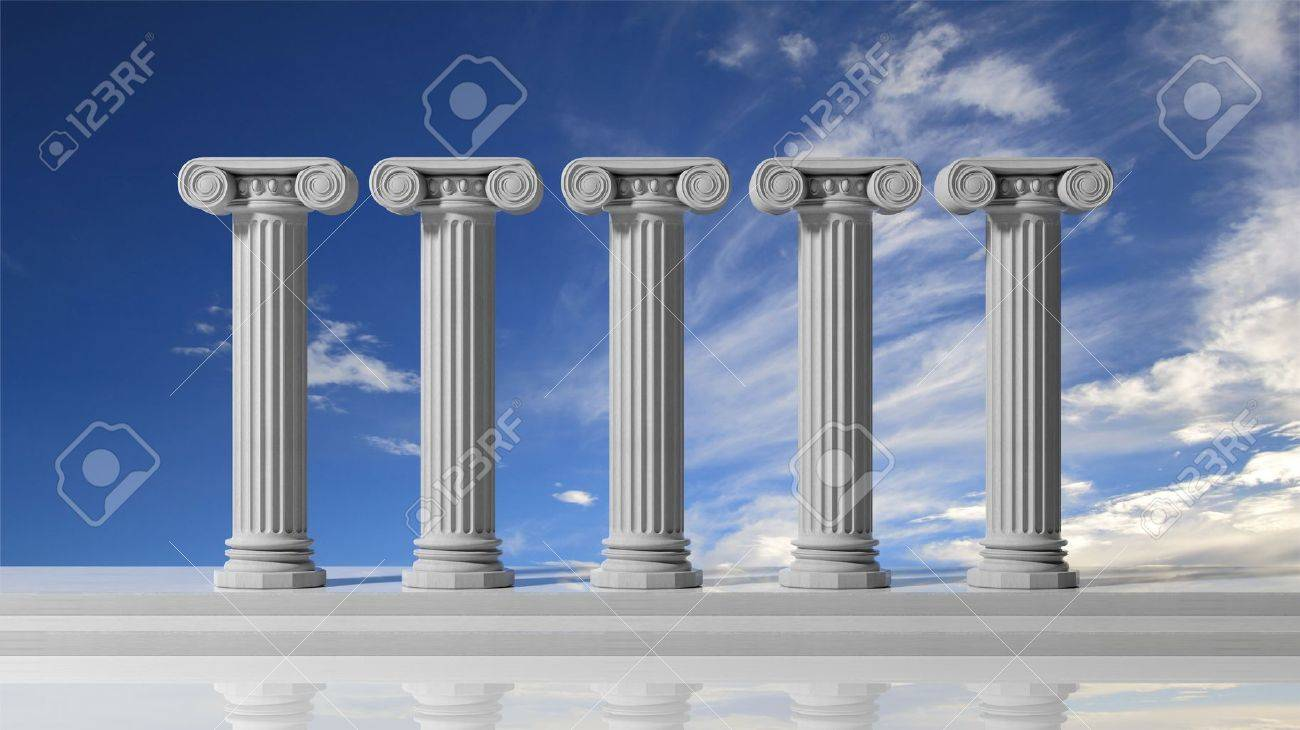 Five ancient pillars with blue sky background. Stock Photo - 50948334