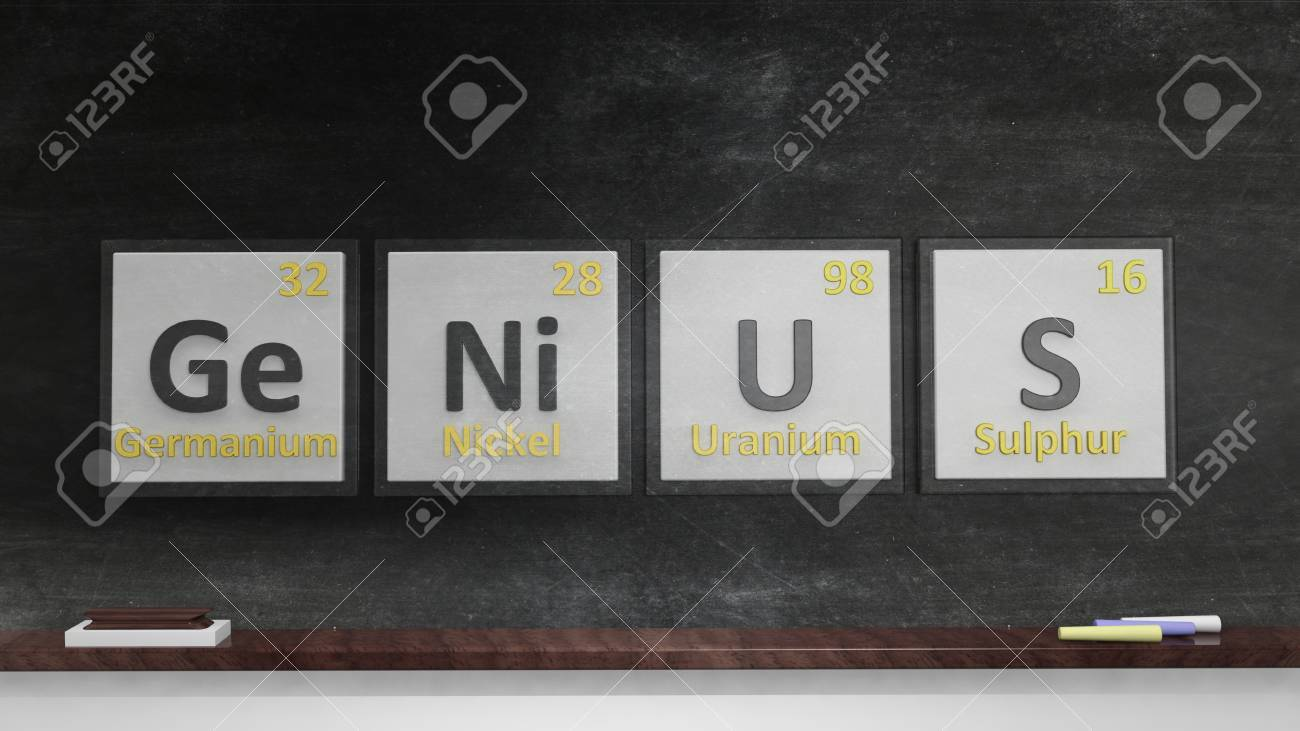 Periodic table of elements symbols used to form word genius stock periodic table of elements symbols used to form word genius on blackboard stock photo urtaz Image collections