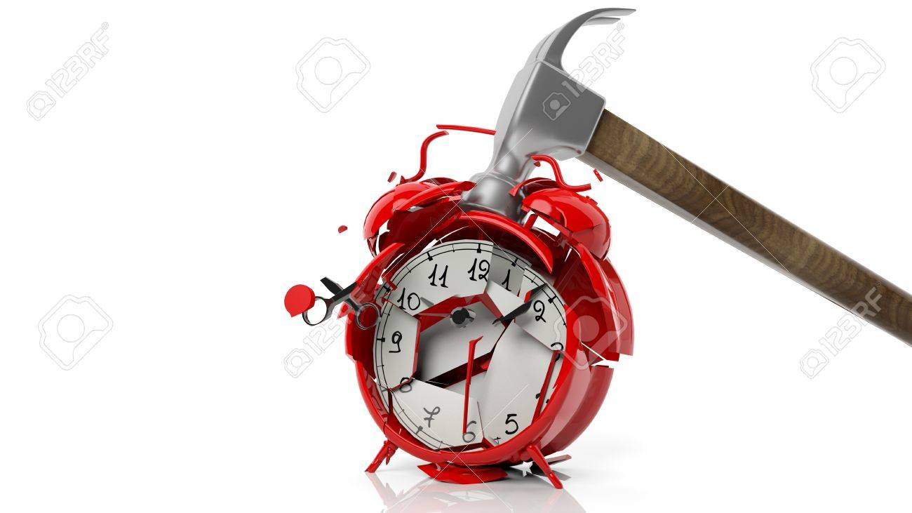 Hammer breaking red alarm clock, isolated on white background - 51957018