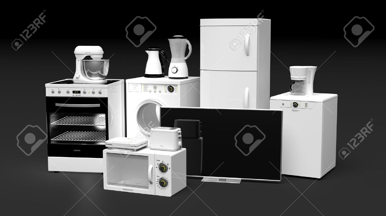 Group of home appliances isolated on black background Stock Photo - 51957064