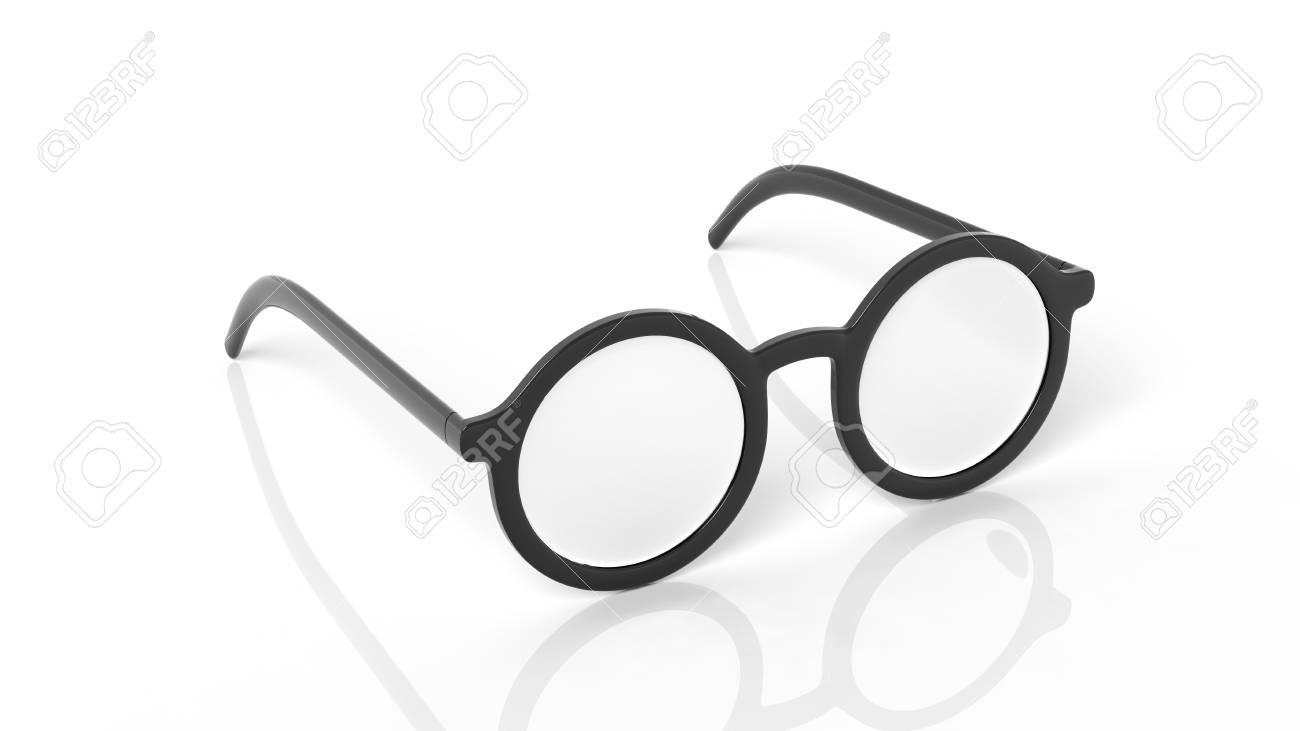 Paire de lunettes noires rondes lentilles,