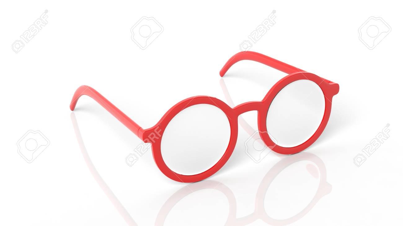 effbb285a8b666 Banque d images - Paire de lunettes rouges rondes lentilles, isolé sur fond  blanc.