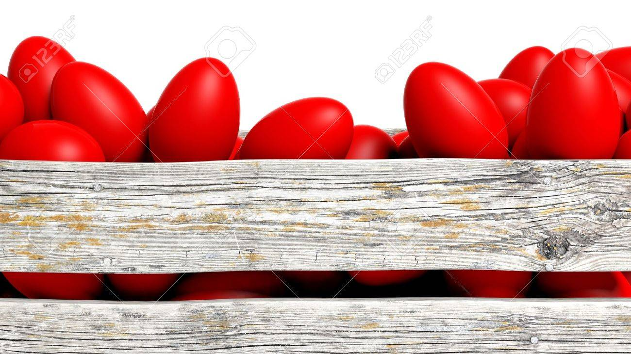 Red painted Easter eggs in wooden container, isolated on white. Stock Photo - 54446410