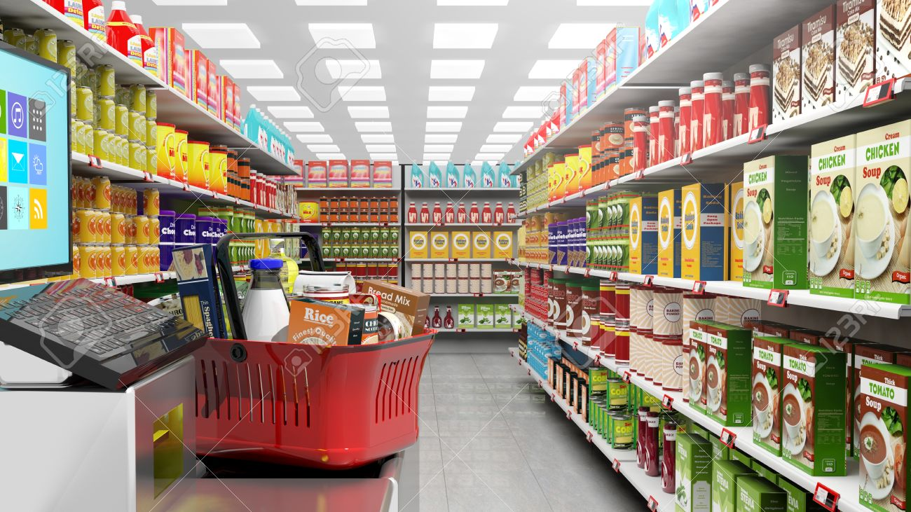 3D rendering of supermarket with big choice of products on shelves.Shopping basket at checkout. - 61859180