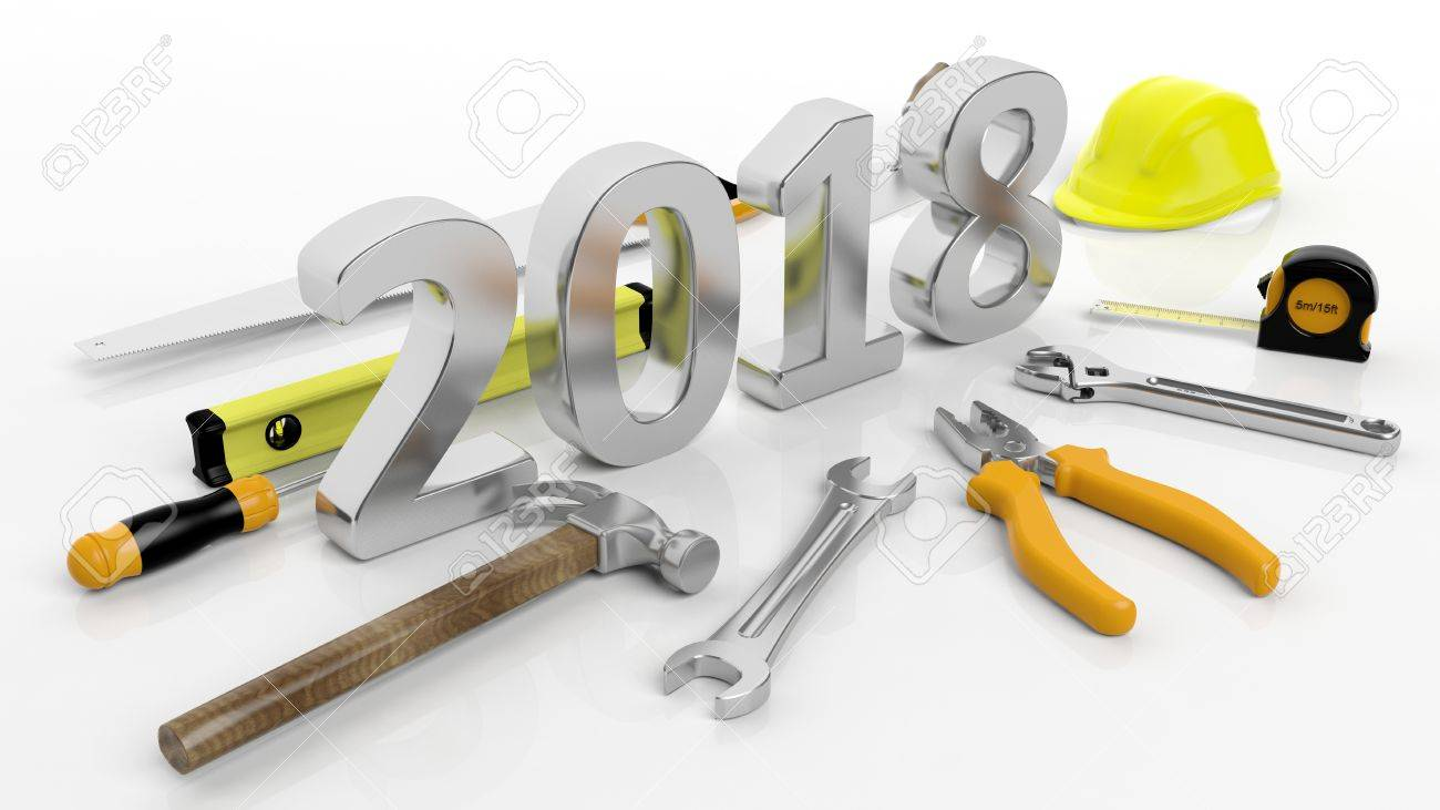 3D rendering Various hand tools with 2018 text, isolated on white background. Stock Photo - 70292285