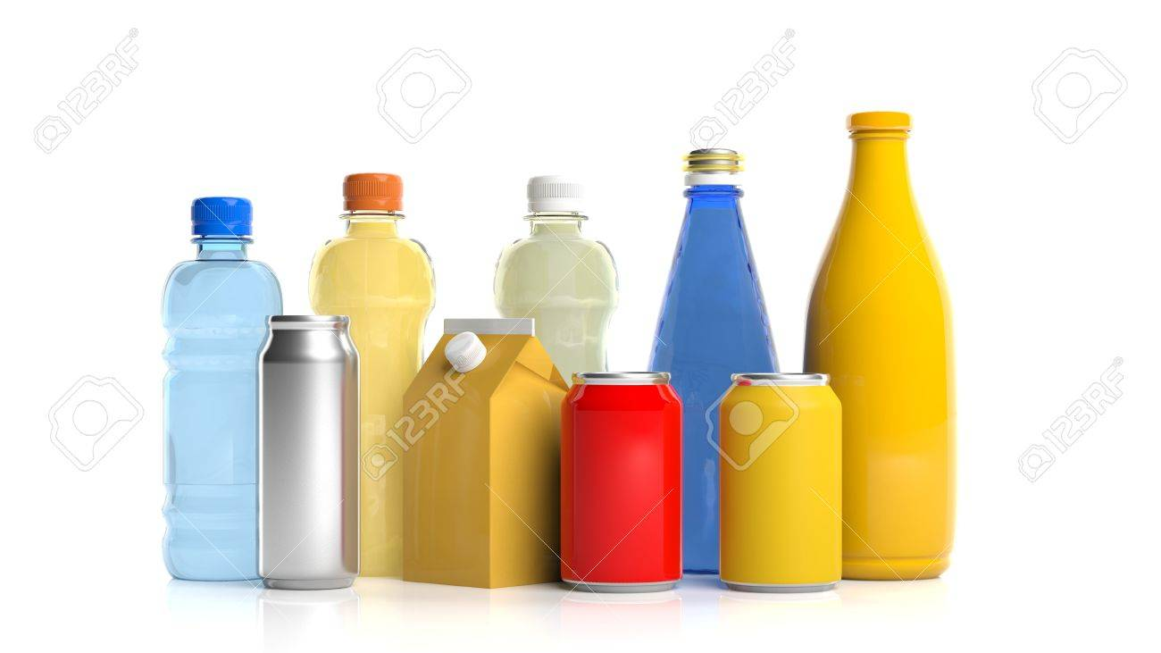 Variety of beverages packages on white background. 3d illustration - 82066945