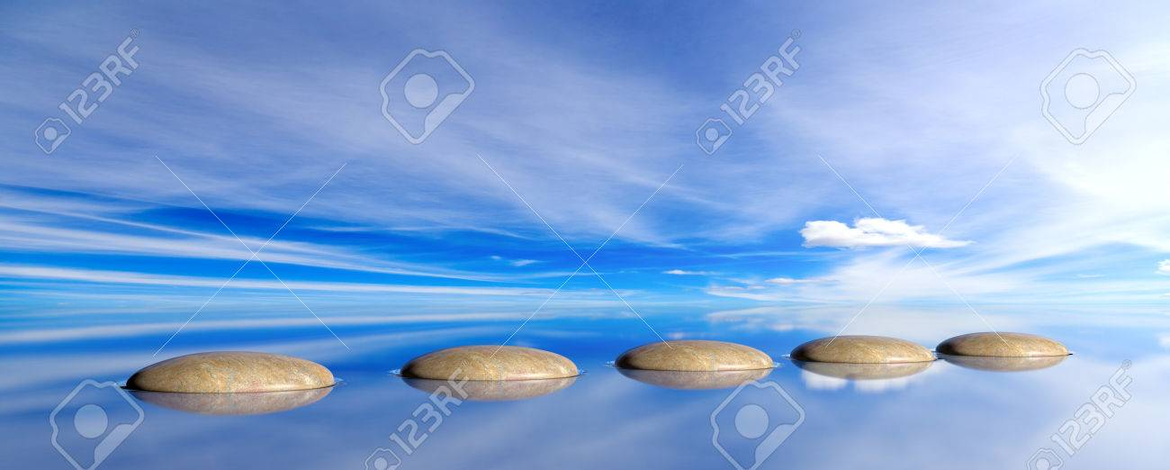 Zen pebbles on a blue sky and sea background. 3d illustration - 82634754