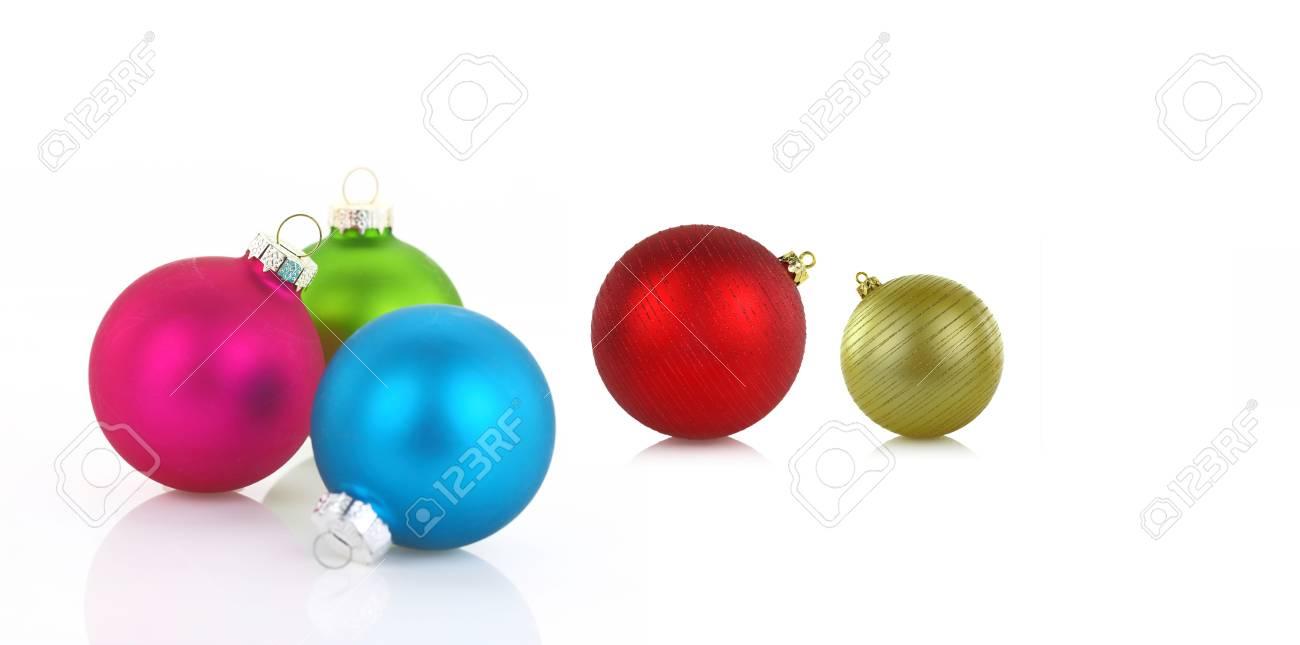 Foto Di Palle Di Natale.Varieta Di Palle Di Natale Colorate Su Sfondo Bianco