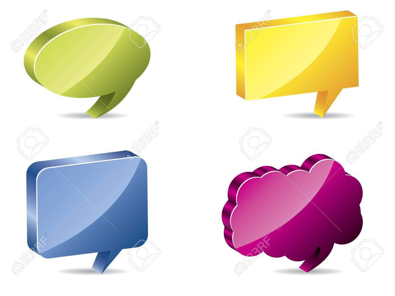 Various color 3d speech bubbles Stock Vector - 6688294