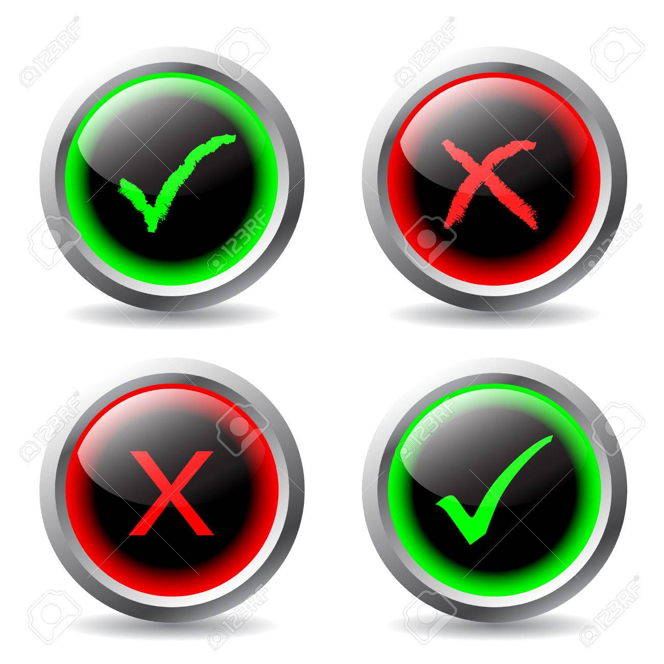 tick and cross buttons Stock Vector - 6802453