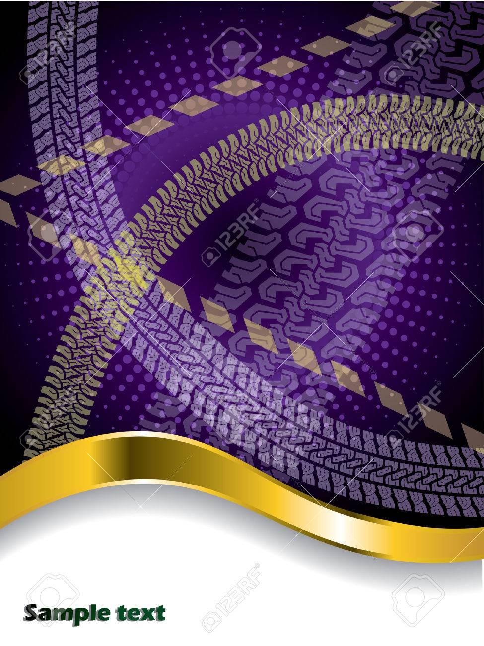 Various tire treads on purple backdrop Stock Vector - 6934074