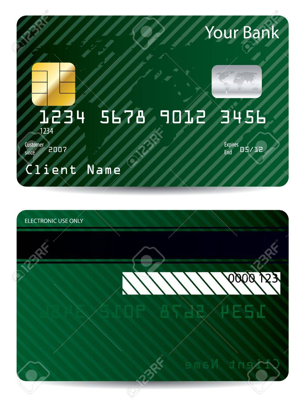 Striped green world credit card Stock Vector - 7001866