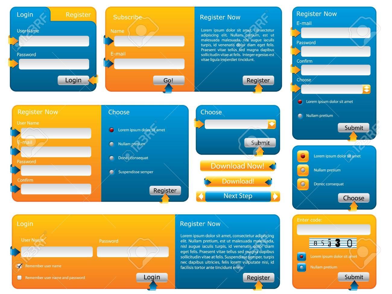 Various blue and orange website form set Stock Photo - 7463119