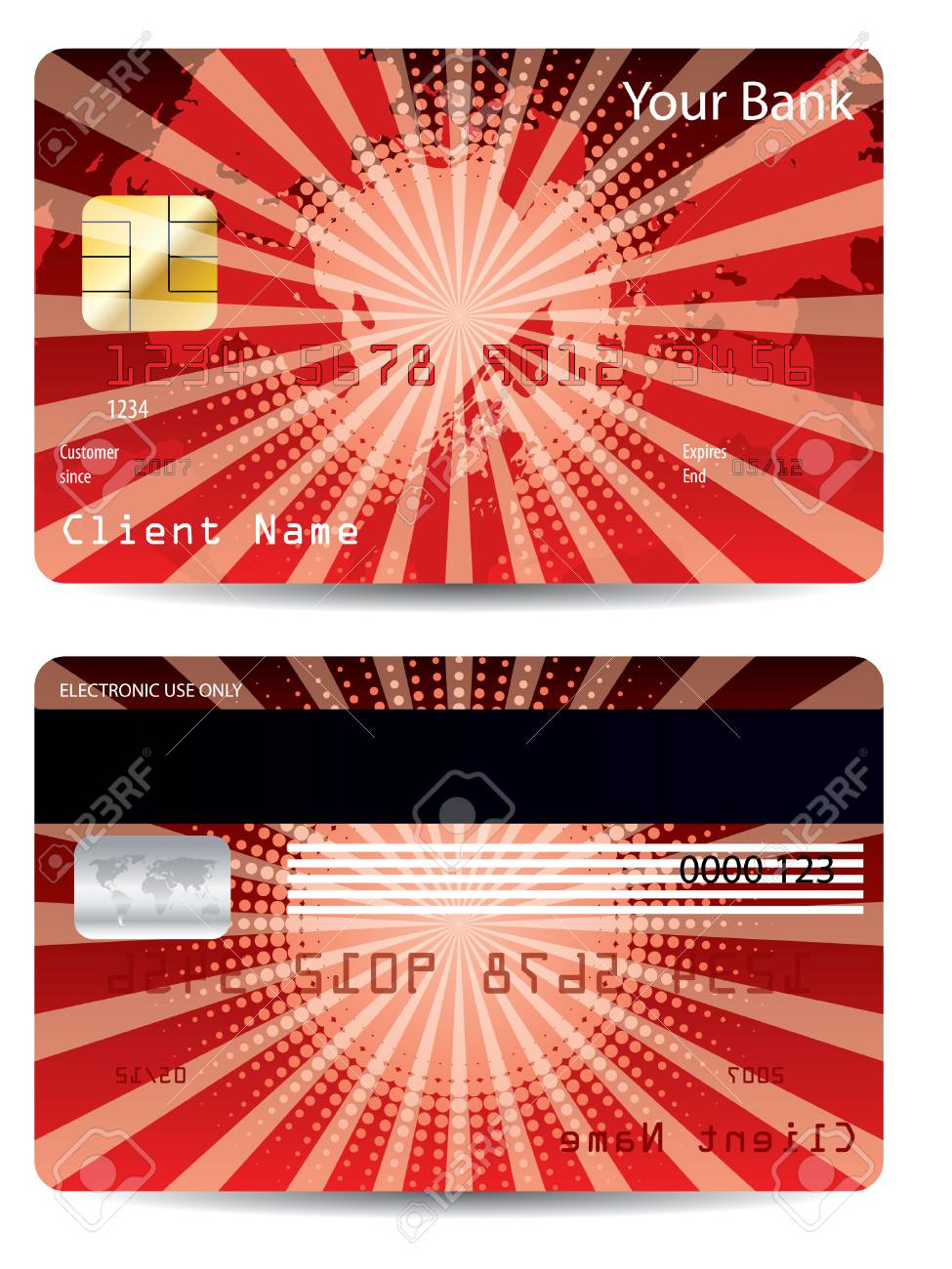 Red credit card design Stock Vector - 7978429