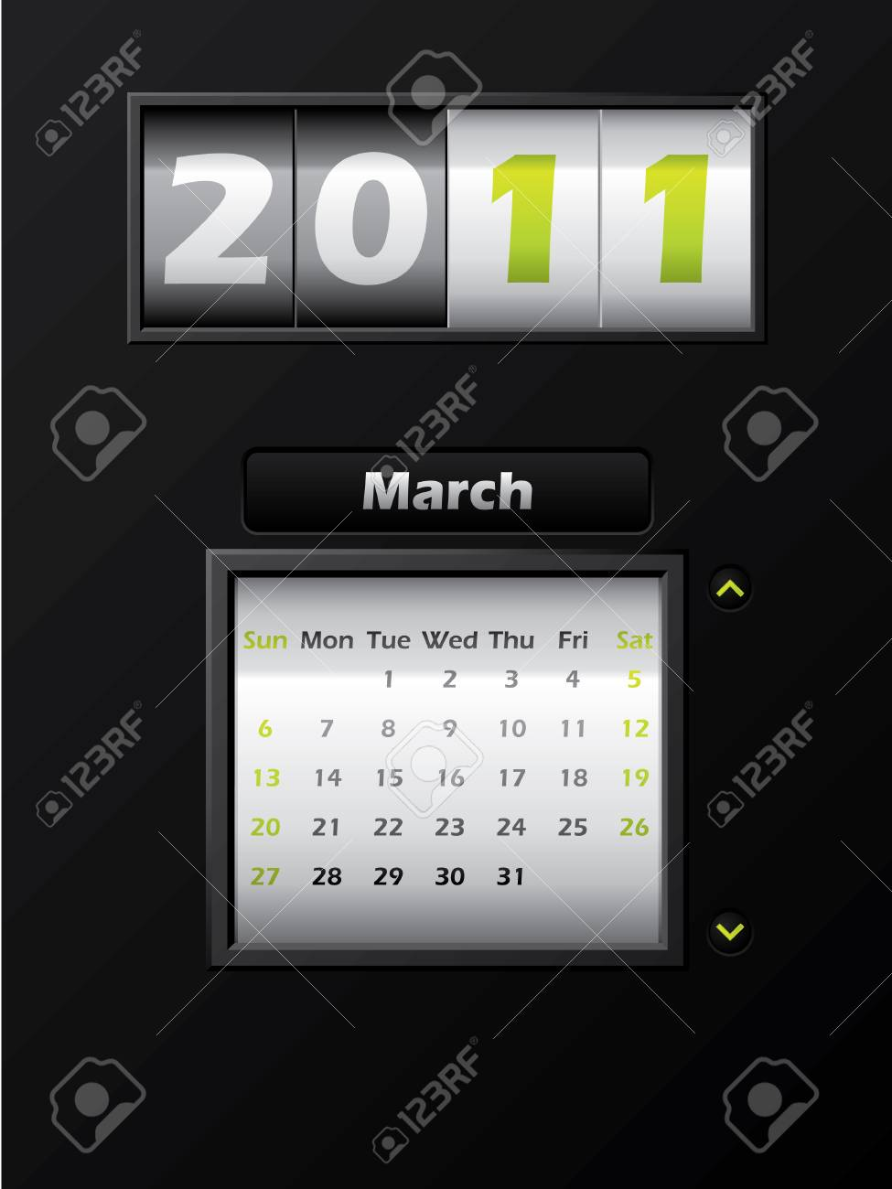 2011 march month counter calendar Stock Vector - 8127745