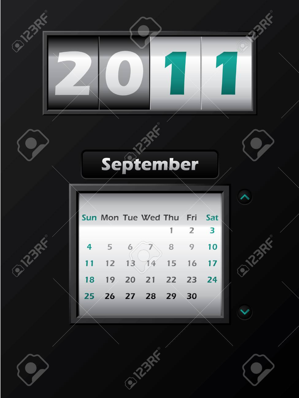 2011 september month counter calendar Stock Vector - 8127748