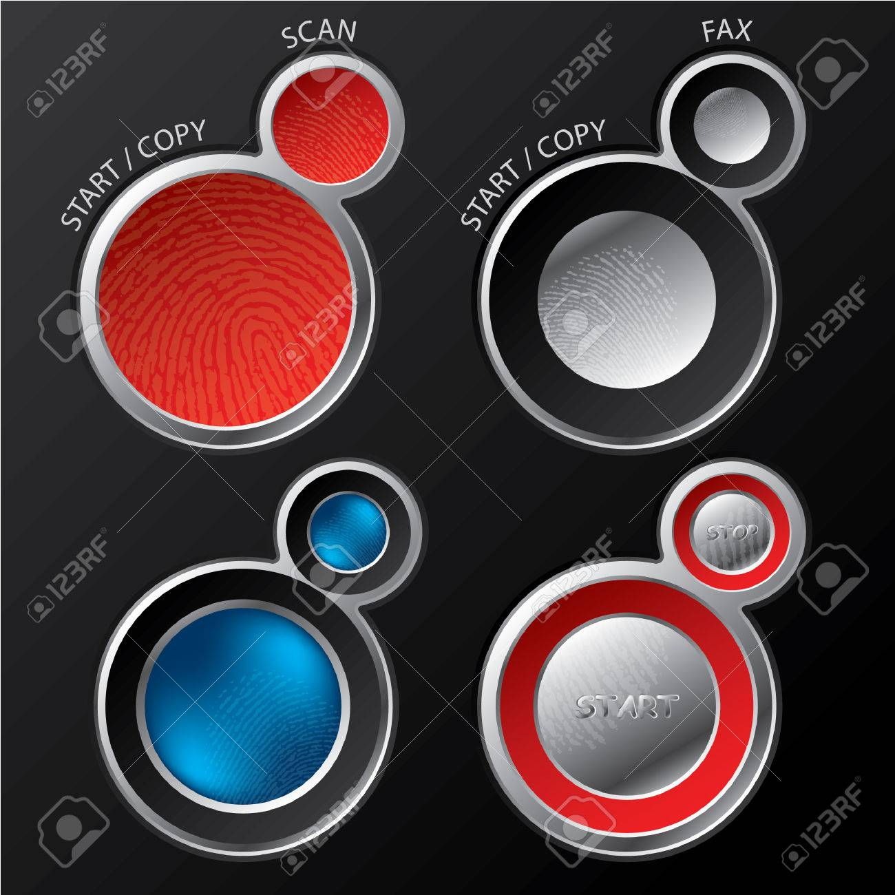 Button sets for scanners/copiers Stock Vector - 8599133