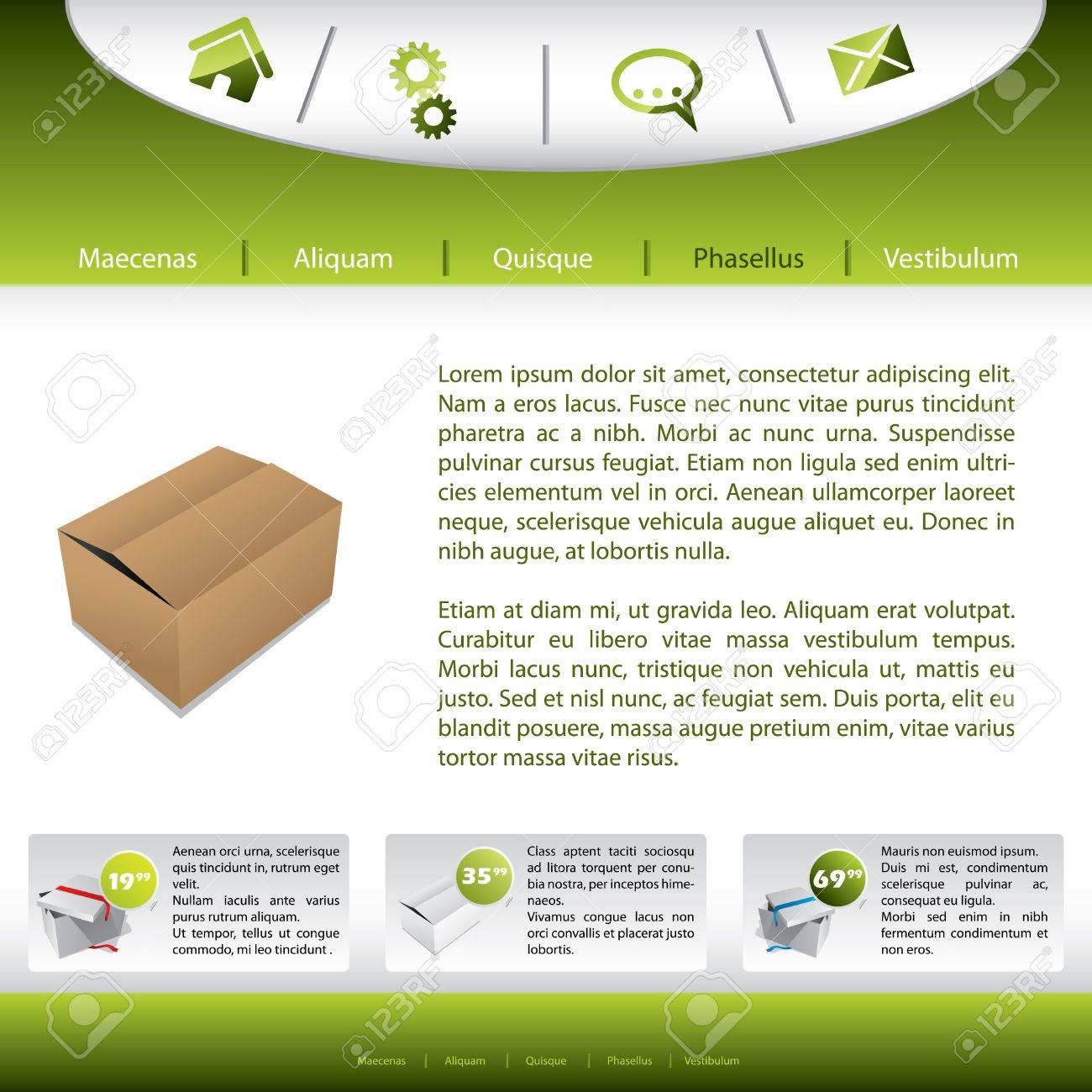 Website template design with product presentation Stock Vector - 9837769