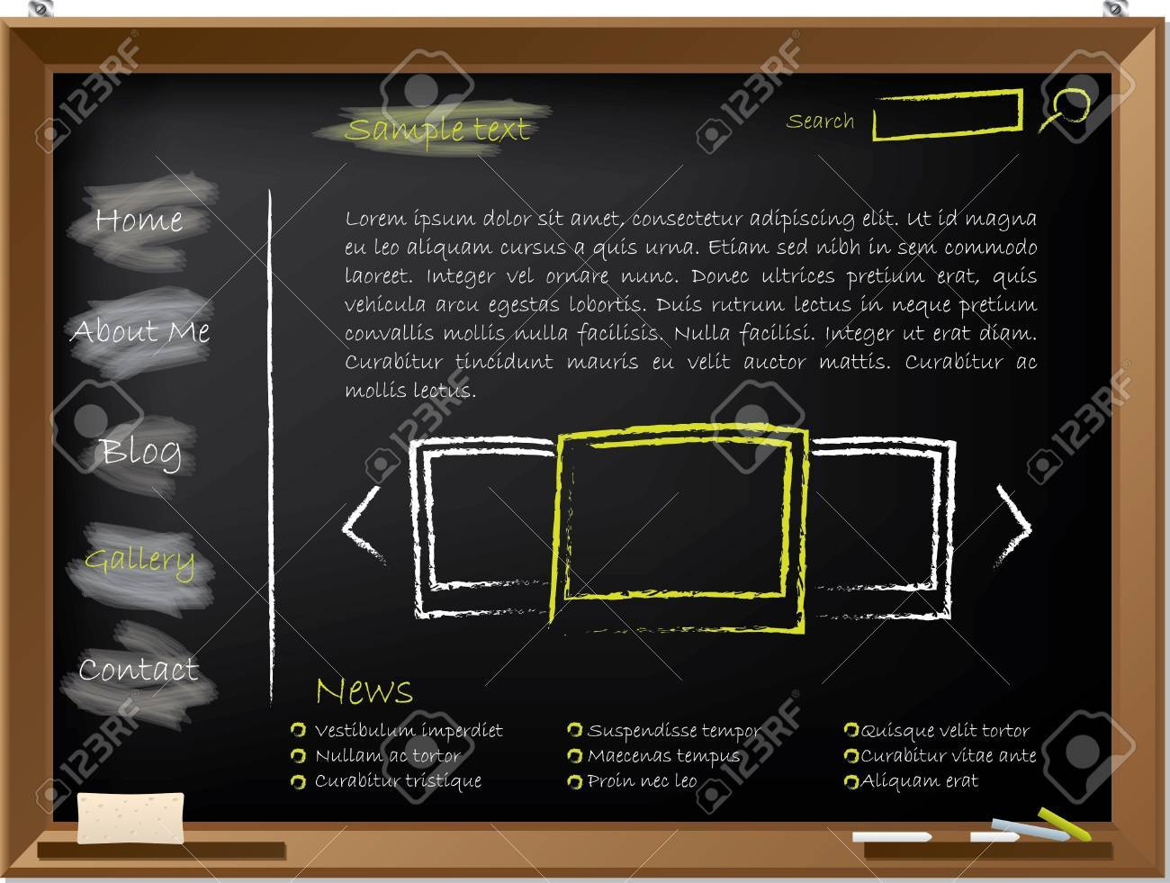 Website Template Design On Blackboard Drawn With Chalk Royalty Free ...